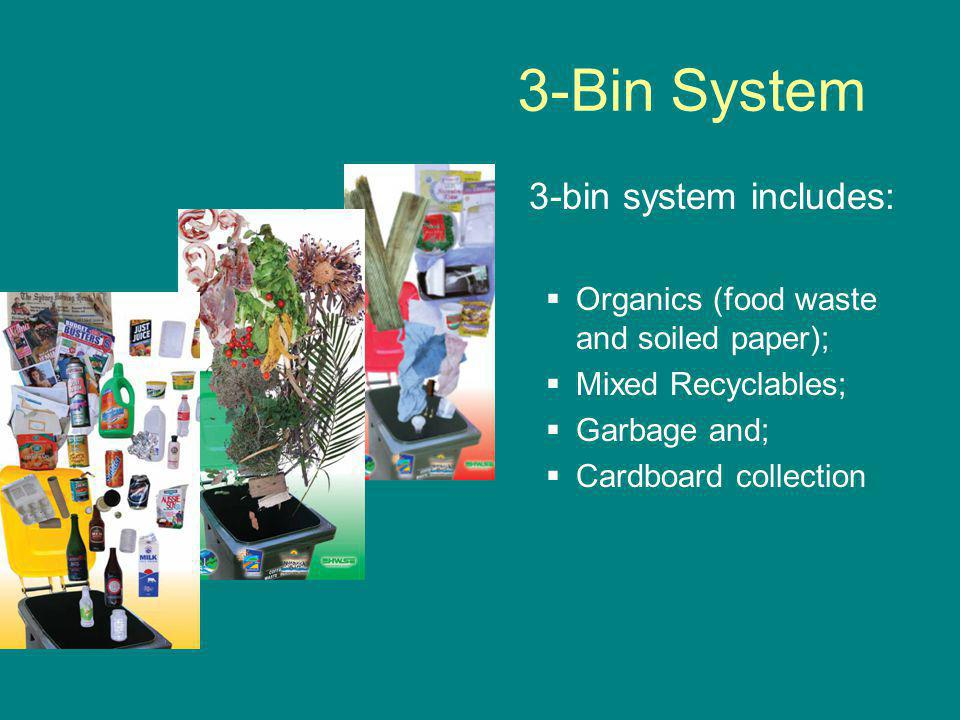 3-Bin System 3-bin system includes:  Organics (food waste and soiled paper);  Mixed Recyclables;  Garbage and;  Cardboard collection
