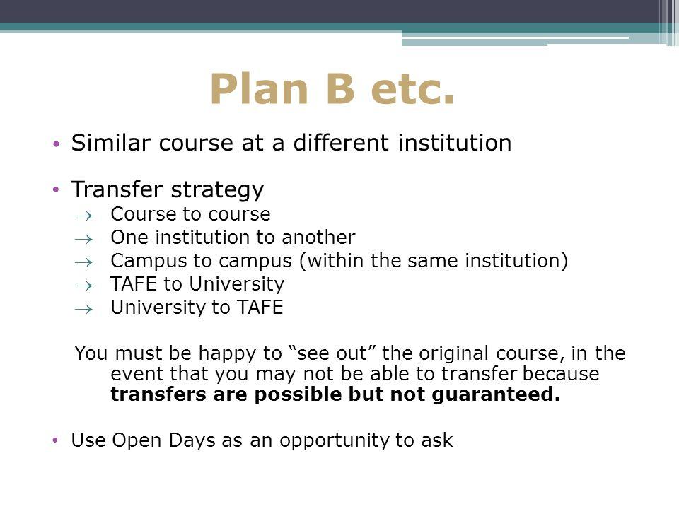 Plan B etc.