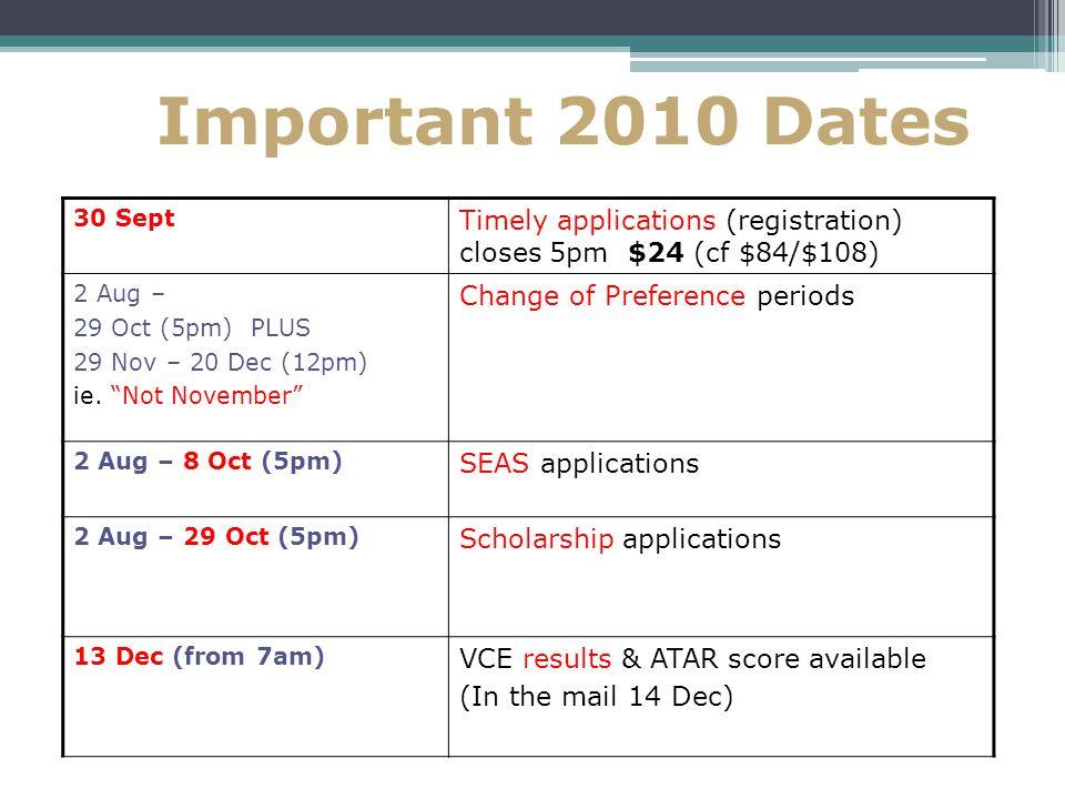 Important 2010 Dates 30 Sept Timely applications (registration) closes 5pm $24 (cf $84/$108) 2 Aug – 29 Oct (5pm) PLUS 29 Nov – 20 Dec (12pm) ie.