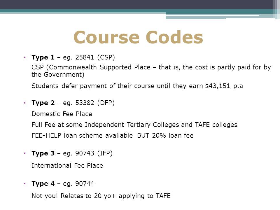 Course Codes Type 1 – eg.