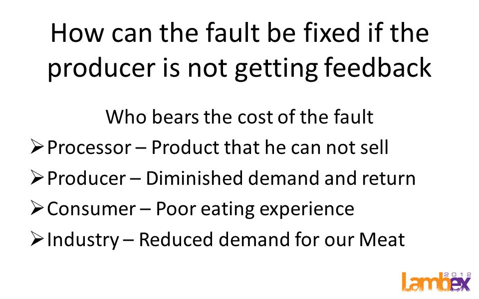 How can the fault be fixed if the producer is not getting feedback Who bears the cost of the fault  Processor – Product that he can not sell  Producer – Diminished demand and return  Consumer – Poor eating experience  Industry – Reduced demand for our Meat