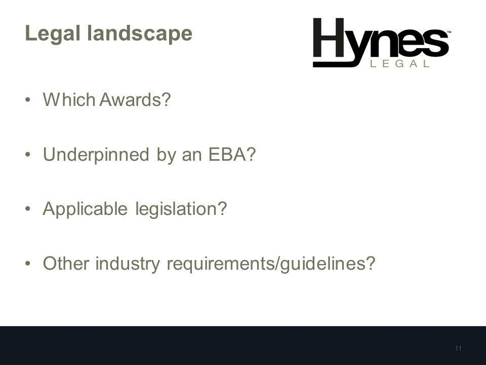 Legal landscape Which Awards? Underpinned by an EBA? Applicable legislation? Other industry requirements/guidelines? 11