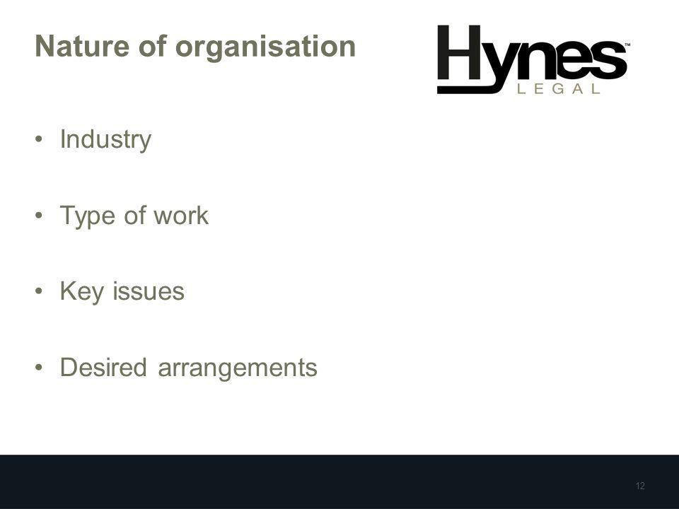 Nature of organisation Industry Type of work Key issues Desired arrangements 12