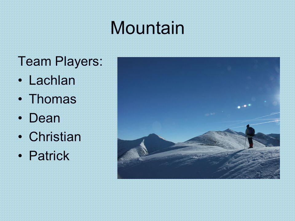 Mountain Team Players: Lachlan Thomas Dean Christian Patrick