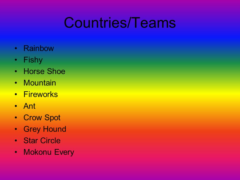 Countries/Teams Rainbow Fishy Horse Shoe Mountain Fireworks Ant Crow Spot Grey Hound Star Circle Mokonu Every