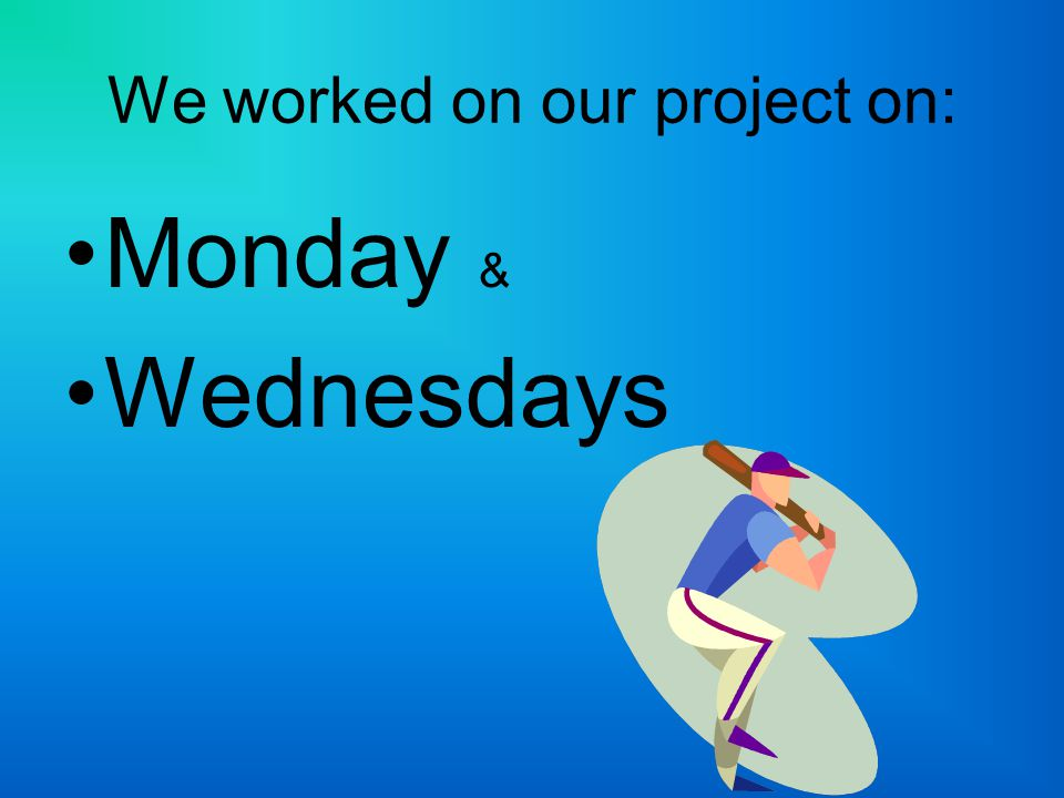 We worked on our project on: Monday & Wednesdays