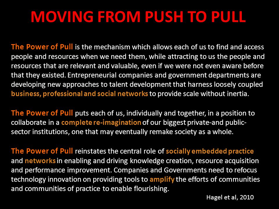 The Power of Pull is the mechanism which allows each of us to find and access people and resources when we need them, while attracting to us the peopl
