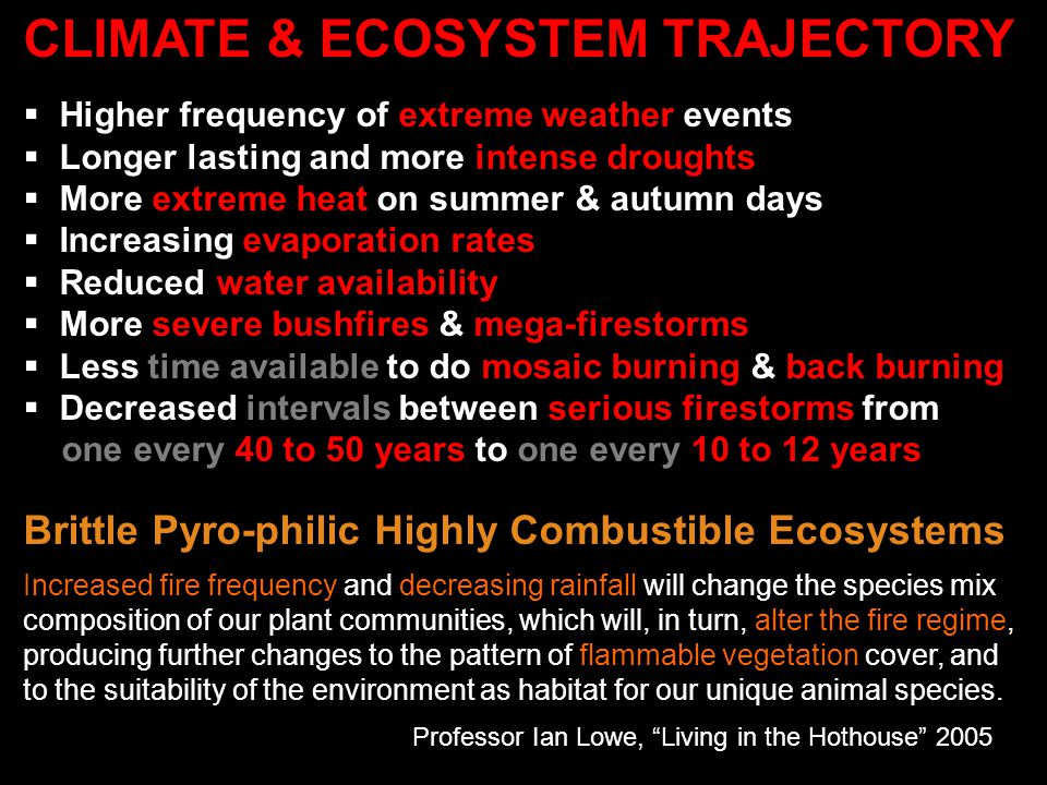 CLIMATE & ECOSYSTEM TRAJECTORY  Higher frequency of extreme weather events  Longer lasting and more intense droughts  More extreme heat on summer &