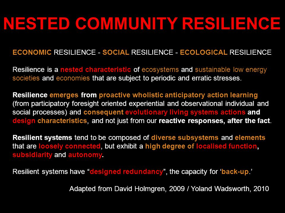 ECONOMIC RESILIENCE - SOCIAL RESILIENCE - ECOLOGICAL RESILIENCE Resilience is a nested characteristic of ecosystems and sustainable low energy societi