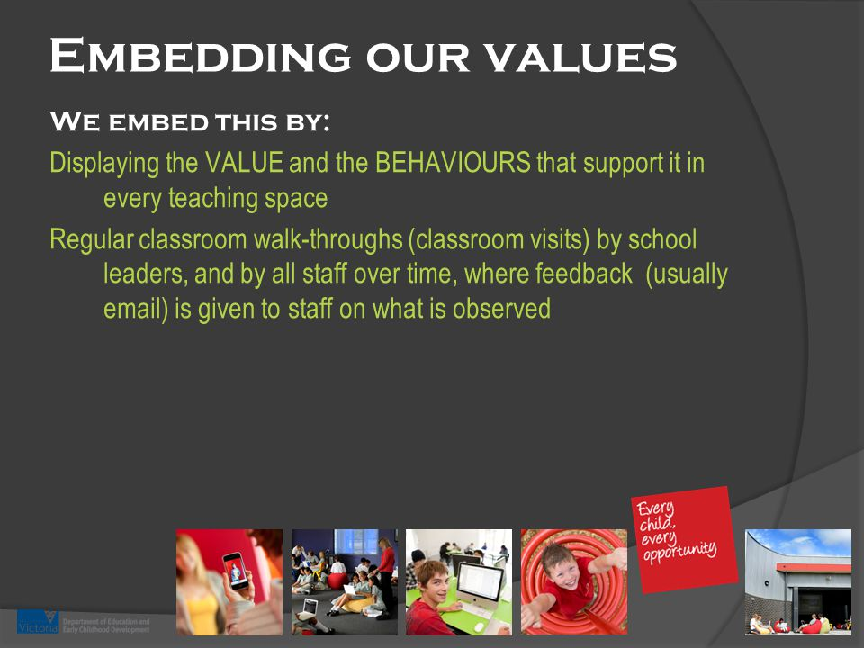 Embedding our values We embed this by: Displaying the VALUE and the BEHAVIOURS that support it in every teaching space Regular classroom walk-throughs (classroom visits) by school leaders, and by all staff over time, where feedback (usually email) is given to staff on what is observed