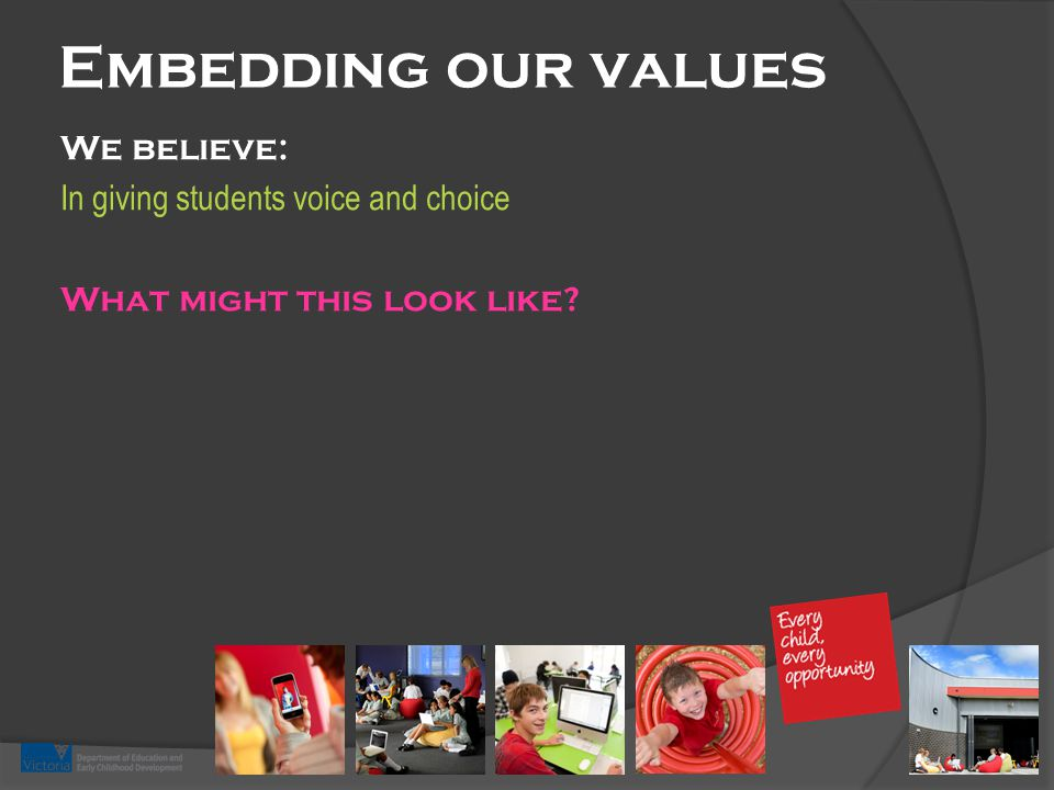 Embedding our values We believe: In giving students voice and choice What might this look like?