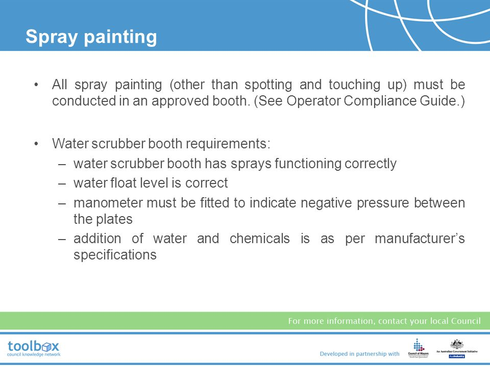 In all vehicle surface preparation, ensure that no particles are released into the air of the surrounding environment (eg from sanding, grinding, dry