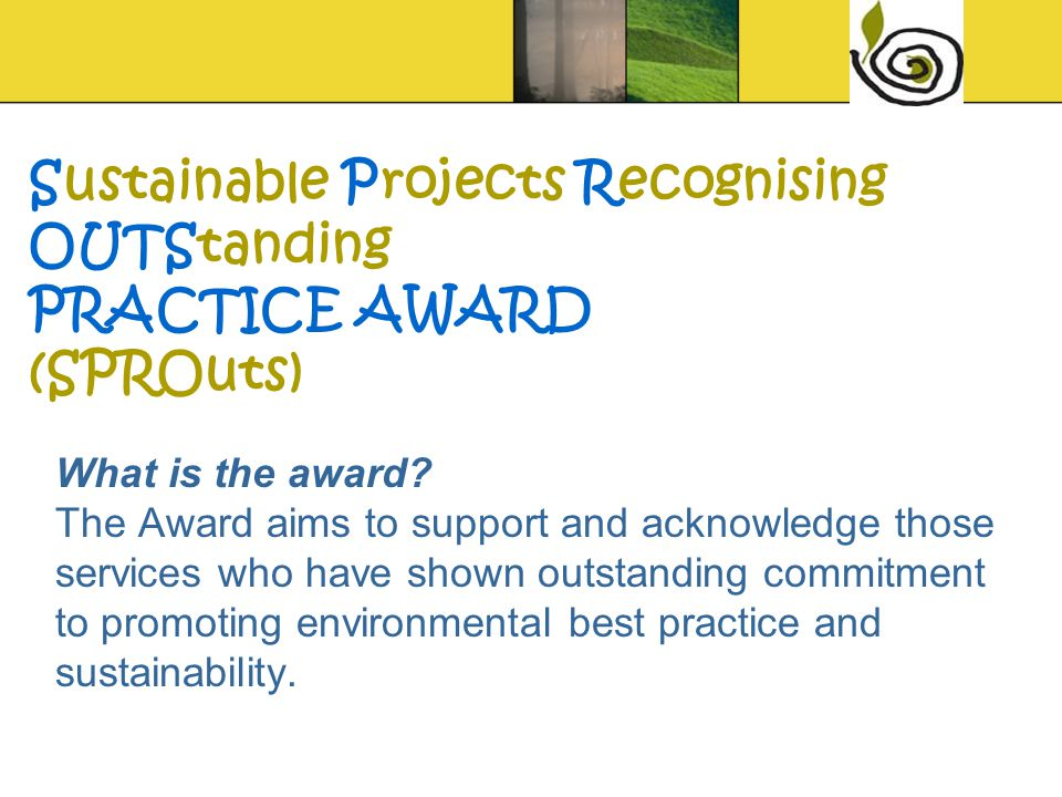 What is the award? The Award aims to support and acknowledge those services who have shown outstanding commitment to promoting environmental best prac