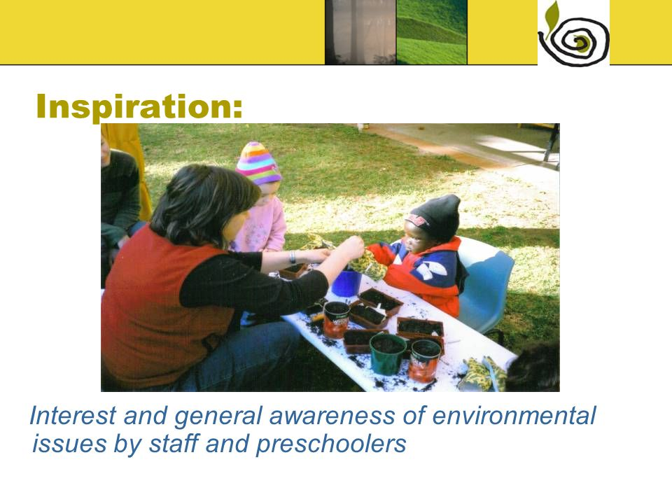 Inspiration: Interest and general awareness of environmental issues by staff and preschoolers