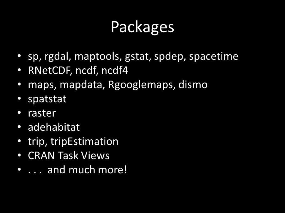 Packages sp, rgdal, maptools, gstat, spdep, spacetime RNetCDF, ncdf, ncdf4 maps, mapdata, Rgooglemaps, dismo spatstat raster adehabitat trip, tripEsti