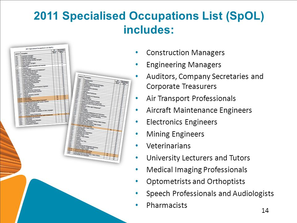 2011 Specialised Occupations List (SpOL) includes: Construction Managers Engineering Managers Auditors, Company Secretaries and Corporate Treasurers Air Transport Professionals Aircraft Maintenance Engineers Electronics Engineers Mining Engineers Veterinarians University Lecturers and Tutors Medical Imaging Professionals Optometrists and Orthoptists Speech Professionals and Audiologists Pharmacists 14