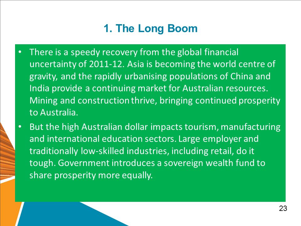 1.The Long Boom There is a speedy recovery from the global financial uncertainty of 2011-12.