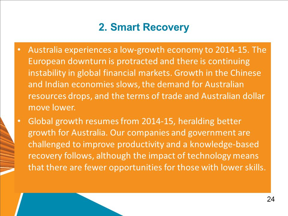 2.Smart Recovery Australia experiences a low-growth economy to 2014-15.