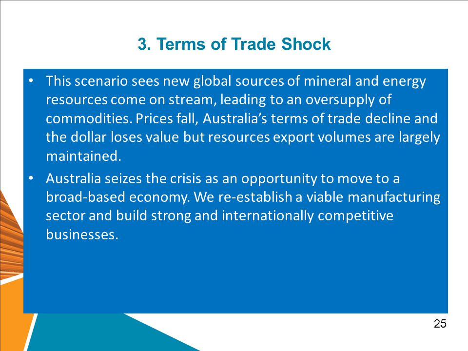 3. Terms of Trade Shock This scenario sees new global sources of mineral and energy resources come on stream, leading to an oversupply of commodities.