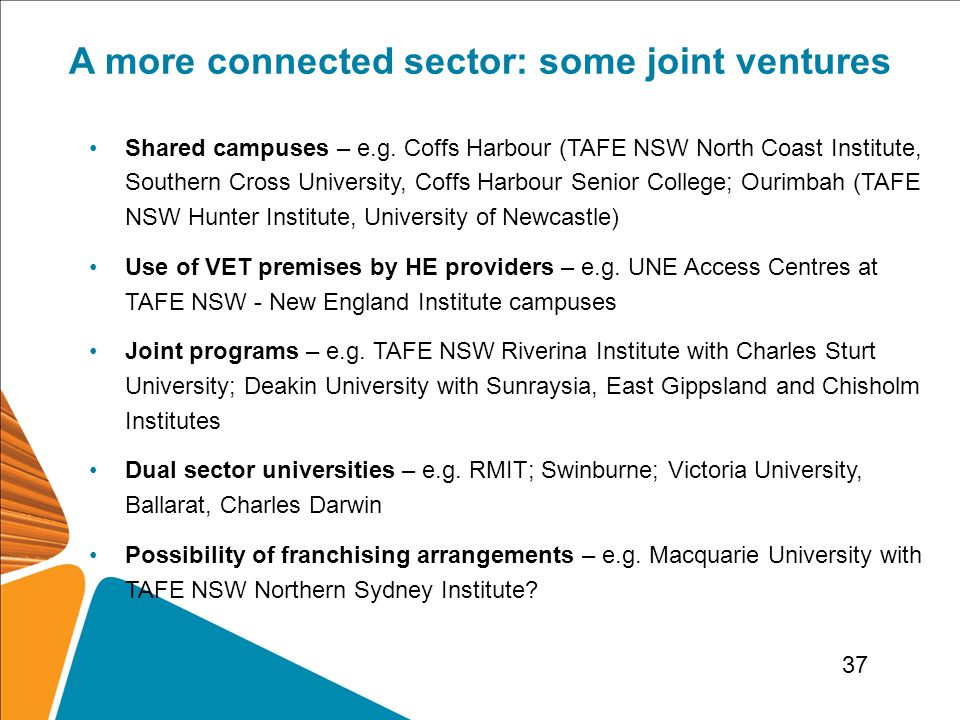 A more connected sector: some joint ventures Shared campuses – e.g.