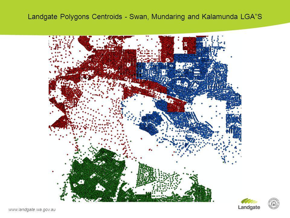 www.landgate.wa.gov.au Landgate Polygons Centroids - Swan, Mundaring and Kalamunda LGA S