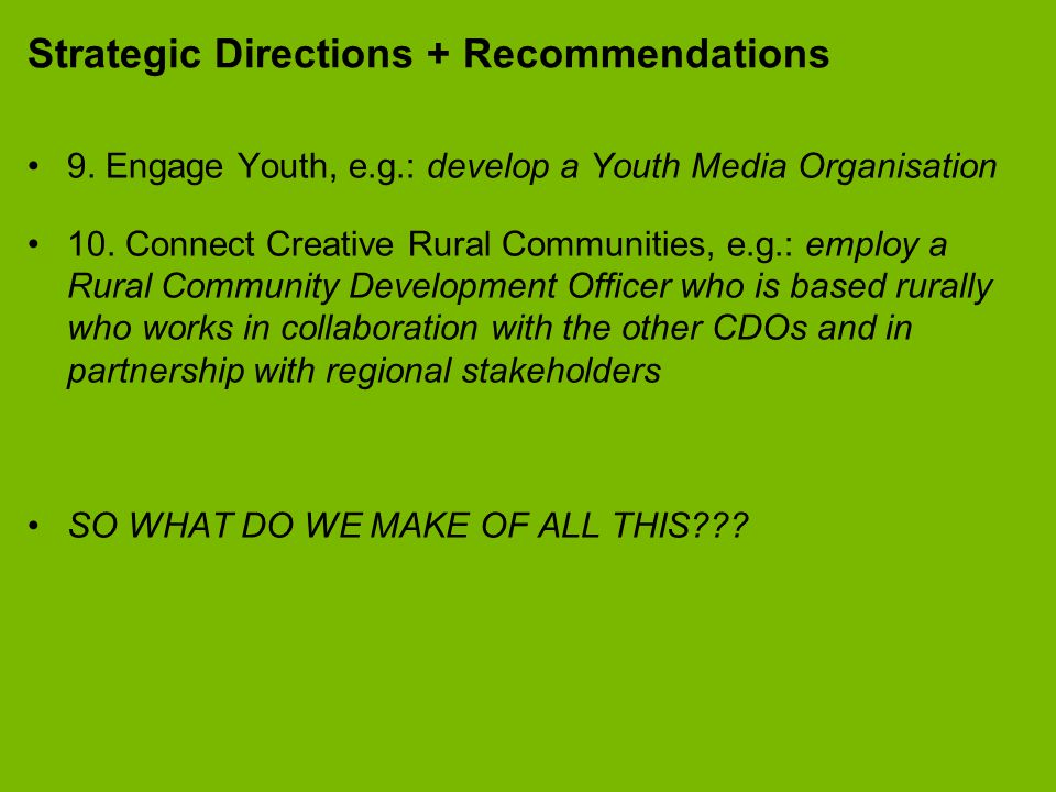 Strategic Directions + Recommendations 9.