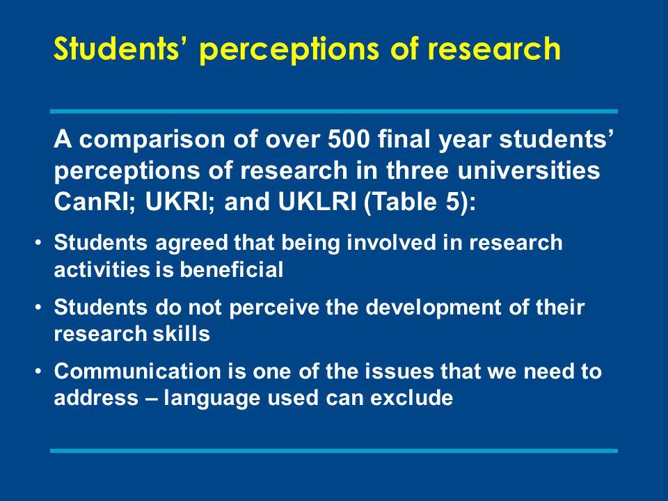 Students' perceptions of research A comparison of over 500 final year students' perceptions of research in three universities CanRI; UKRI; and UKLRI (