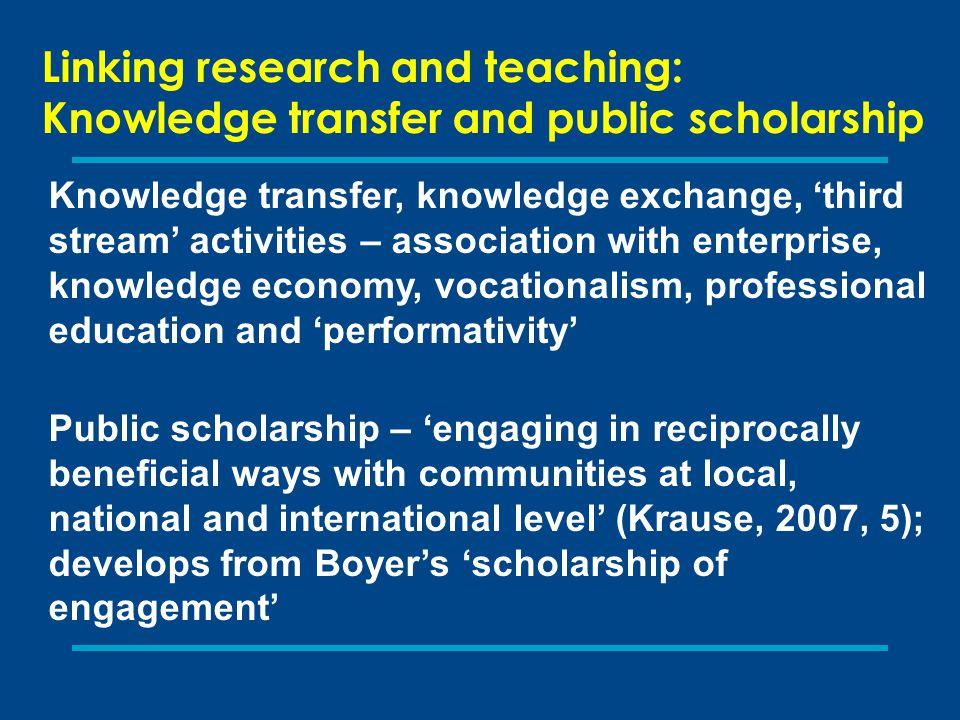 Linking research and teaching: Knowledge transfer and public scholarship Knowledge transfer, knowledge exchange, 'third stream' activities – associati