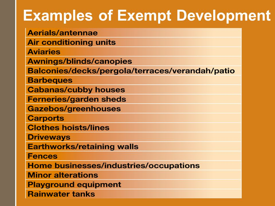 Examples of Exempt Development