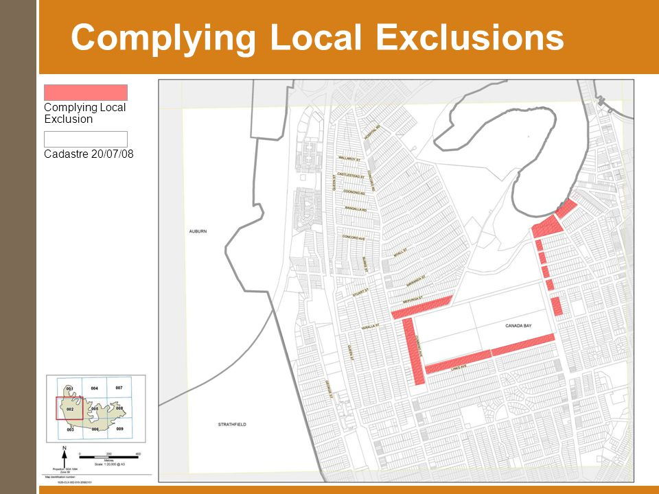 Complying Local Exclusions Front Set Back Cadastre 20/07/08 Complying Local Exclusion Cadastre 20/07/08