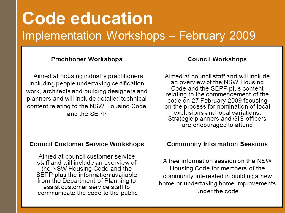 Code education Implementation Workshops – February 2009 Practitioner Workshops Aimed at housing industry practitioners including people undertaking certification work, architects and building designers and planners and will include detailed technical content relating to the NSW Housing Code and the SEPP Council Workshops Aimed at council staff and will include an overview of the NSW Housing Code and the SEPP plus content relating to the commencement of the code on 27 February 2009 focusing on the process for nomination of local exclusions and local variations.