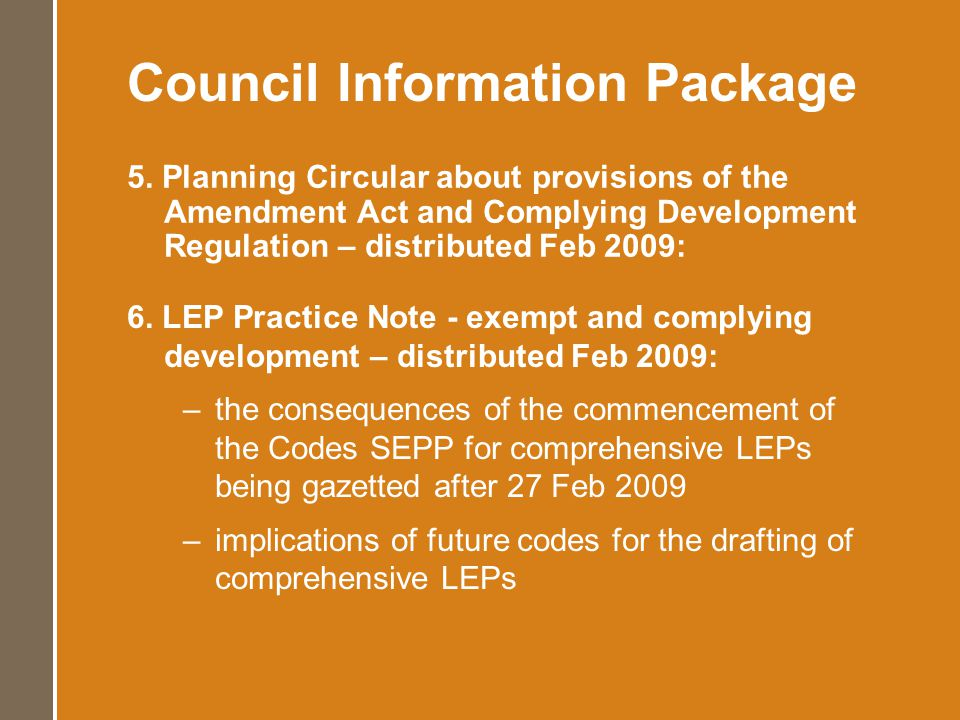 Code Education Further NSW Housing Code Implementation Workshops (as per demand) – March 2009 eLearning – NSW Housing Code – Mid 2009 onwards