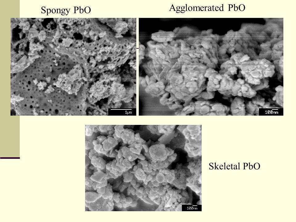 Spongy PbO Agglomerated PbO Skeletal PbO