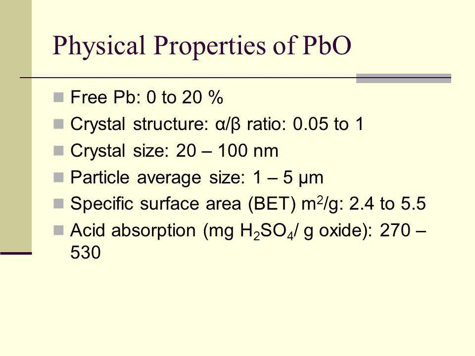 Physical Properties of PbO Free Pb: 0 to 20 % Crystal structure: α/β ratio: 0.05 to 1 Crystal size: 20 – 100 nm Particle average size: 1 – 5 μm Specific surface area (BET) m 2 /g: 2.4 to 5.5 Acid absorption (mg H 2 SO 4 / g oxide): 270 – 530