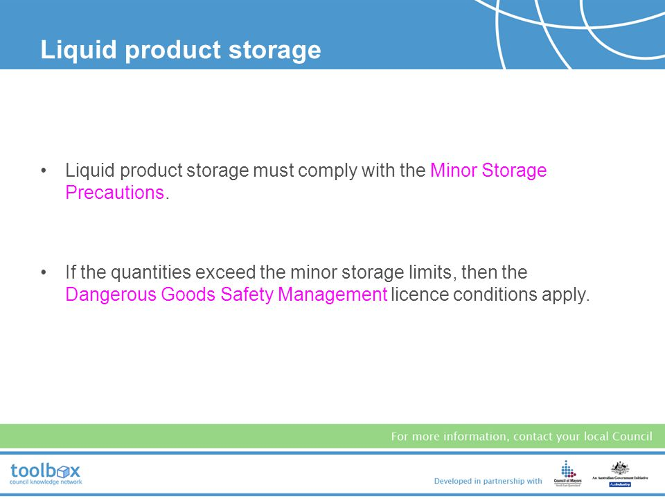 Storage of potential contaminants