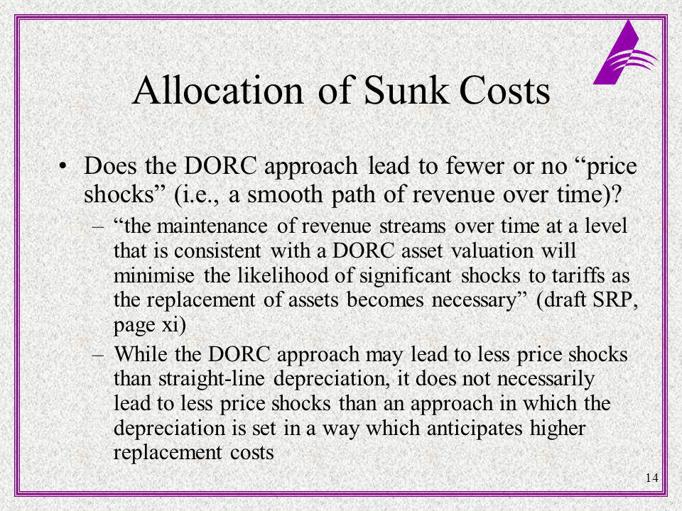 14 Allocation of Sunk Costs Does the DORC approach lead to fewer or no price shocks (i.e., a smooth path of revenue over time).