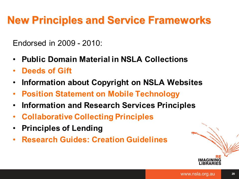 New Principles and Service Frameworks Endorsed in 2009 - 2010: Public Domain Material in NSLA Collections Deeds of Gift Information about Copyright on