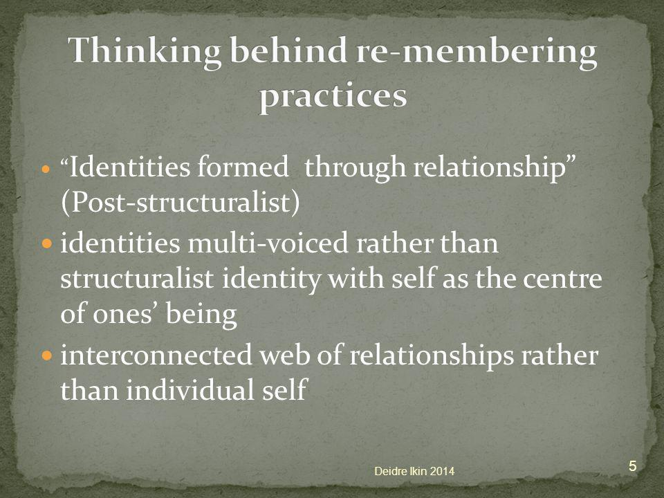 Identities formed through relationship (Post-structuralist) identities multi-voiced rather than structuralist identity with self as the centre of ones' being interconnected web of relationships rather than individual self 5 Deidre Ikin 2014