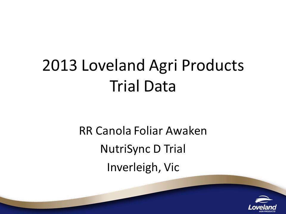 2013 Loveland Agri Products Trial Data RR Canola Foliar Awaken NutriSync D Trial Inverleigh, Vic