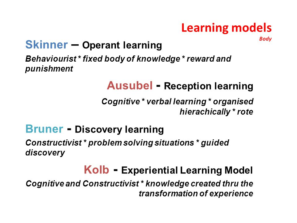 Learning models Body Skinner – Operant learning Behaviourist * fixed body of knowledge * reward and punishment Ausubel - Reception learning Cognitive * verbal learning * organised hierachically * rote Bruner - Discovery learning Constructivist * problem solving situations * guided discovery Kolb - Experiential Learning Model Cognitive and Constructivist * knowledge created thru the transformation of experience