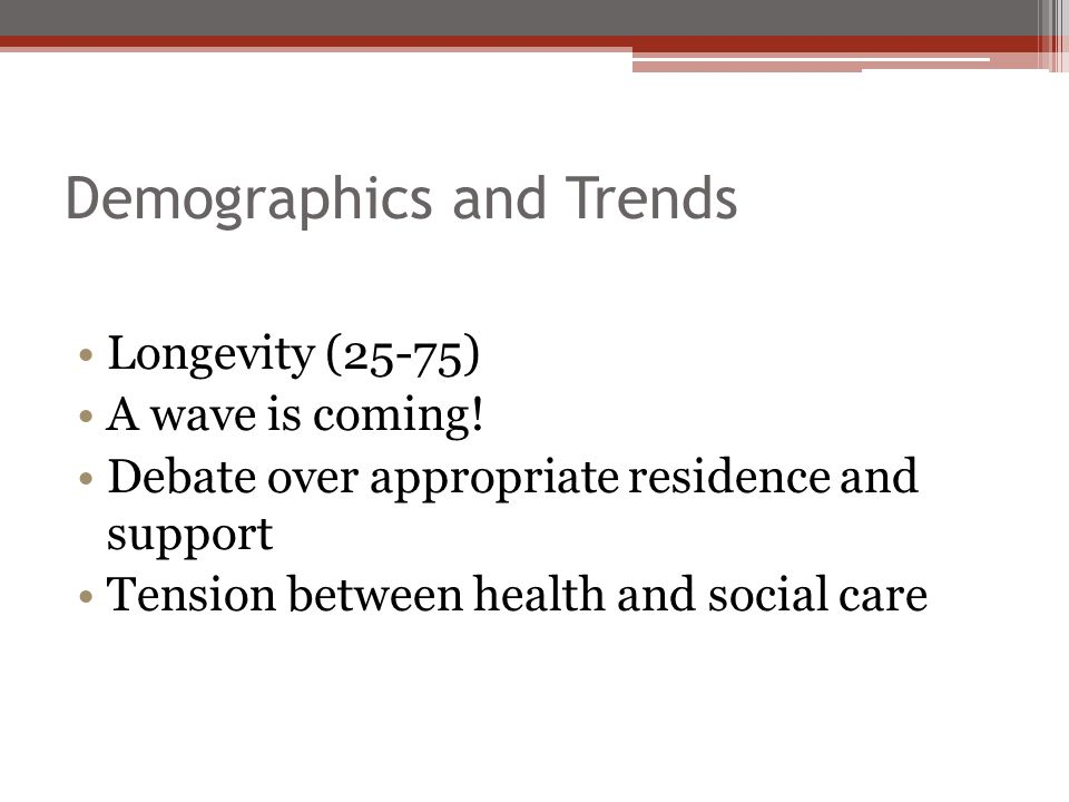 Demographics and Trends Longevity (25-75) A wave is coming.