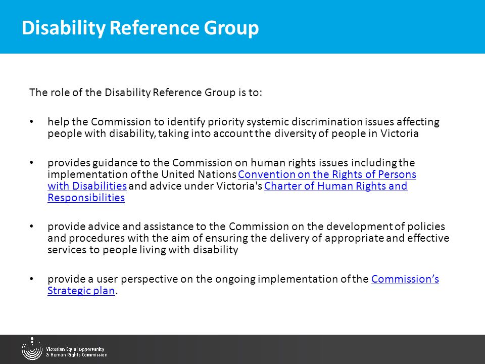 Disability Reference Group The role of the Disability Reference Group is to: help the Commission to identify priority systemic discrimination issues a