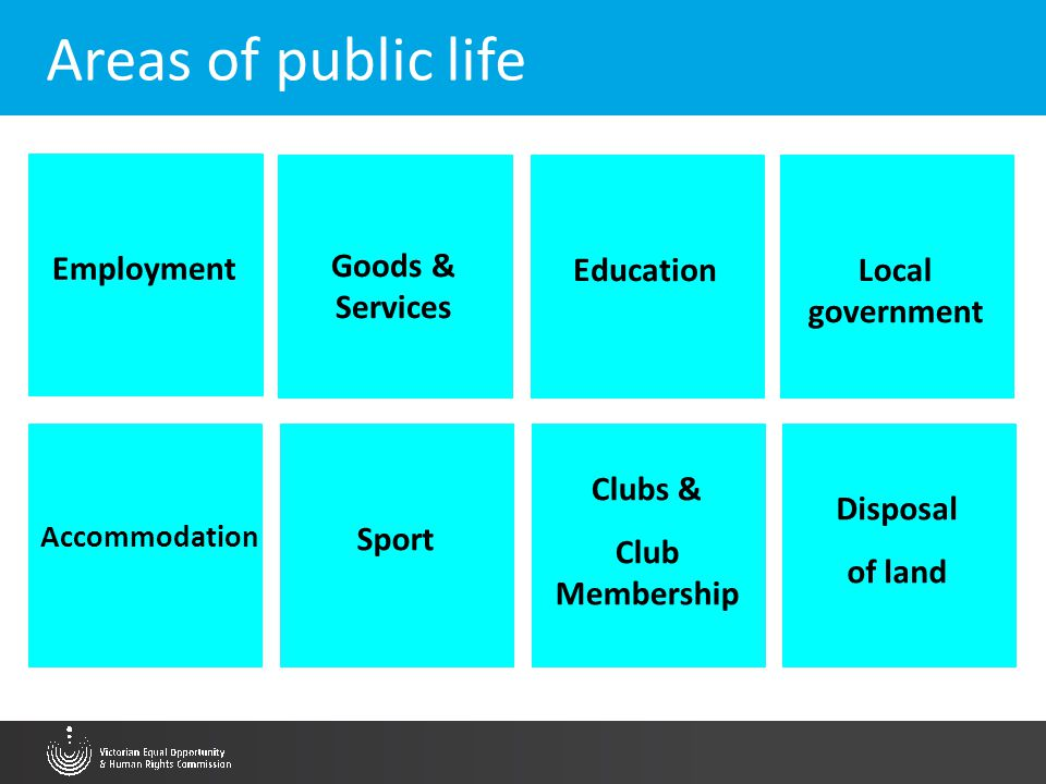 Areas of public life Employment Goods & Services EducationLocal government Accommodation Sport Clubs & Club Membership Disposal of land