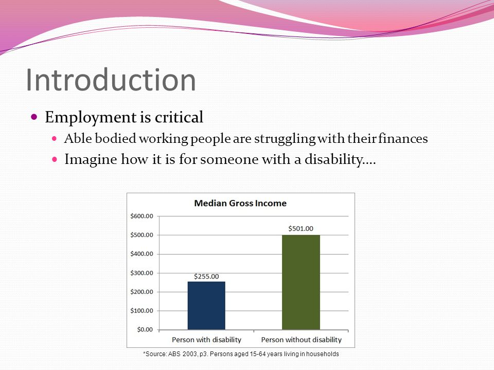 Introduction Employment is critical Able bodied working people are struggling with their finances Imagine how it is for someone with a disability….