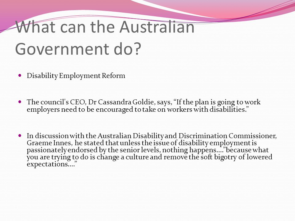 What can the Australian Government do.