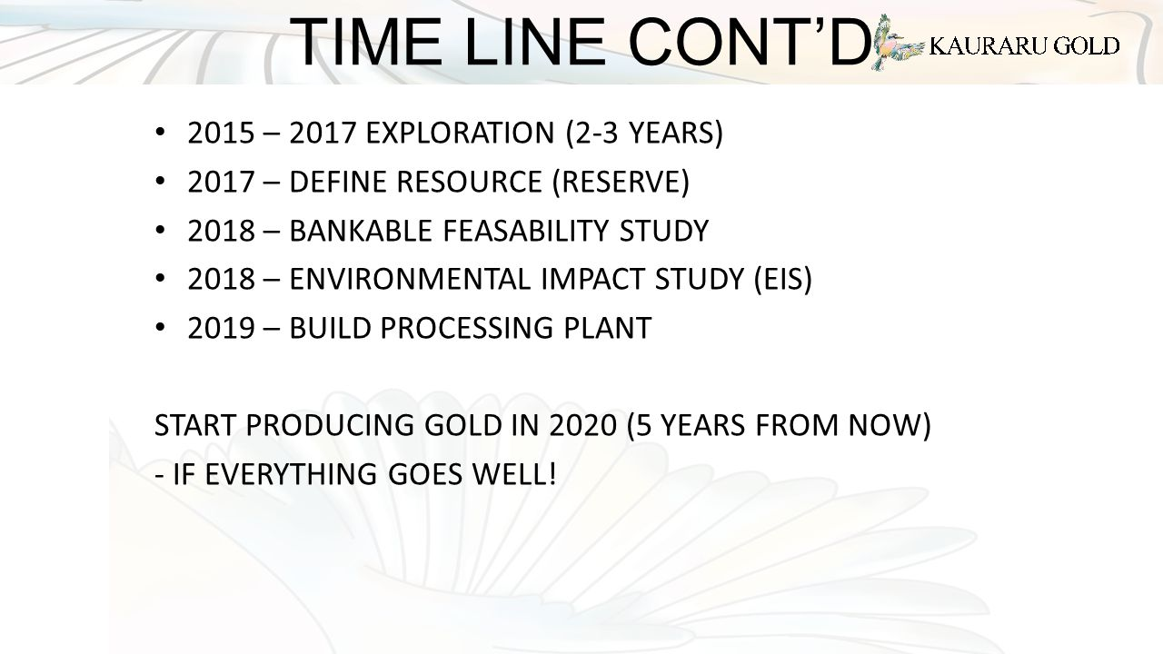 TIME LINE CONT'D 2015 – 2017 EXPLORATION (2-3 YEARS) 2017 – DEFINE RESOURCE (RESERVE) 2018 – BANKABLE FEASABILITY STUDY 2018 – ENVIRONMENTAL IMPACT STUDY (EIS) 2019 – BUILD PROCESSING PLANT START PRODUCING GOLD IN 2020 (5 YEARS FROM NOW) - IF EVERYTHING GOES WELL!
