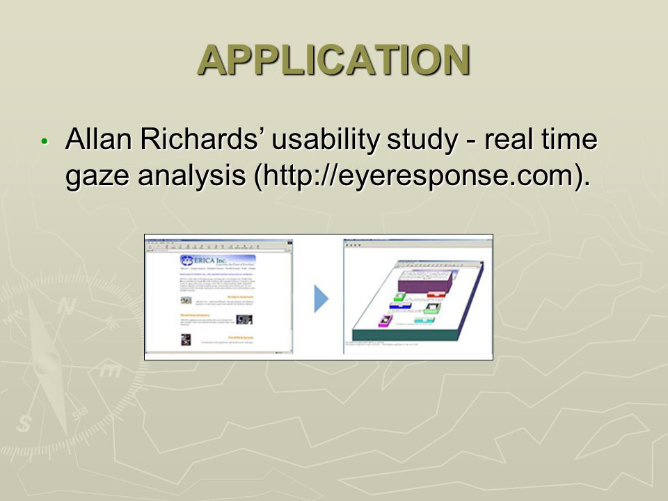 APPLICATION Allan Richards' usability study - real time gaze analysis (http://eyeresponse.com).