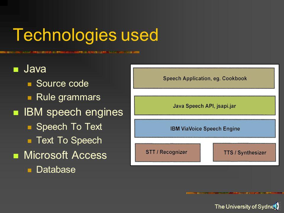 The University of Sydney Technologies used Java Source code Rule grammars IBM speech engines Speech To Text Text To Speech Microsoft Access Database
