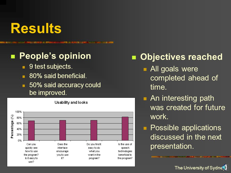 The University of Sydney Results People's opinion 9 test subjects.