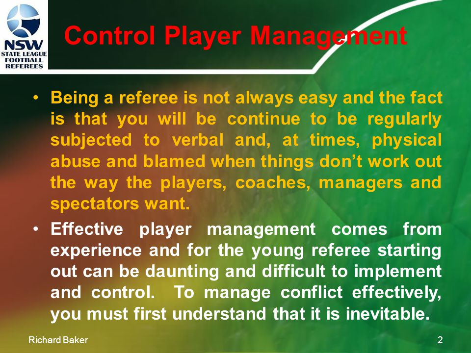 Control Player Management NSW STATE LEAGUE FOOTBALL REFEREES